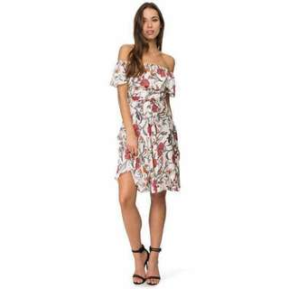 Off Shoulder Floral Lace-Up Dress