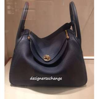 f1a91f2149a2 Hermes Lindy 30 Blue Nuit Clemence Gold Hardware Brand NEW (with Hermes Mar  2017 Receipt