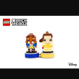 MISB LEGO Brickheadz Beauty And The Beast with Bases (41596 41595)