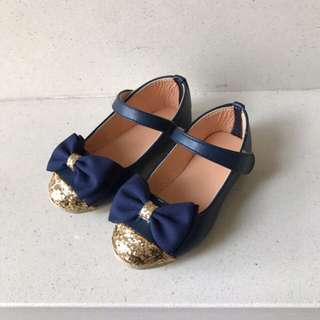 Blue & Glittering Gold Mary Jane Shoes
