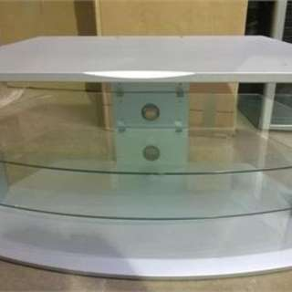 Silver TV Stand with Glass Shelves
