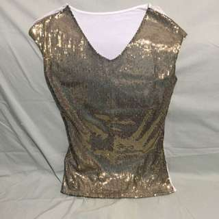 Sequined Casual Top - Gold