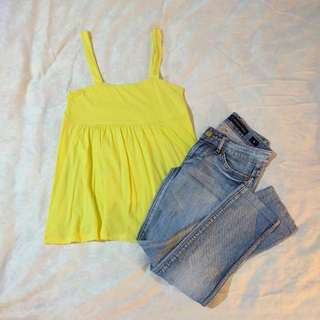 Yellow Baby Doll Top (Size 0)
