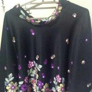 Black Mid Skirt Floral Printed