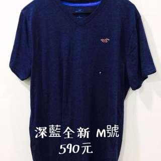 Hollister 深藍全新t-shirt