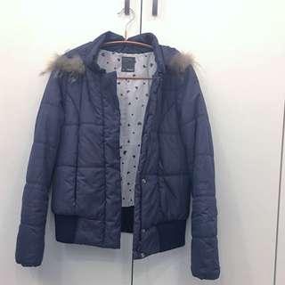 深藍鋪棉短版外套/毛圈可拆/兩側拉鍊口袋