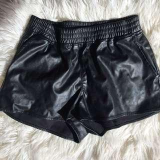 black leather shorts (faux)