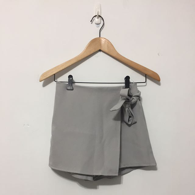 灰色綁帶褲裙