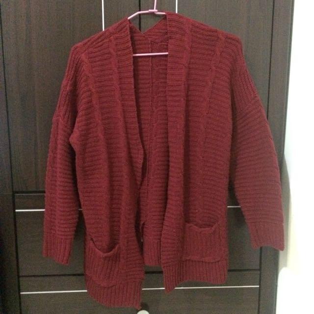 紅色百搭毛衣外套