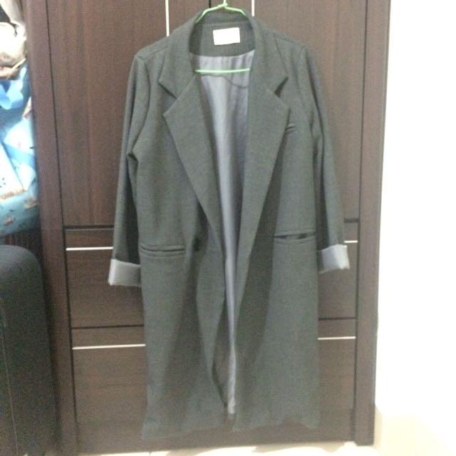 時髦長版風衣外套長版西裝外套