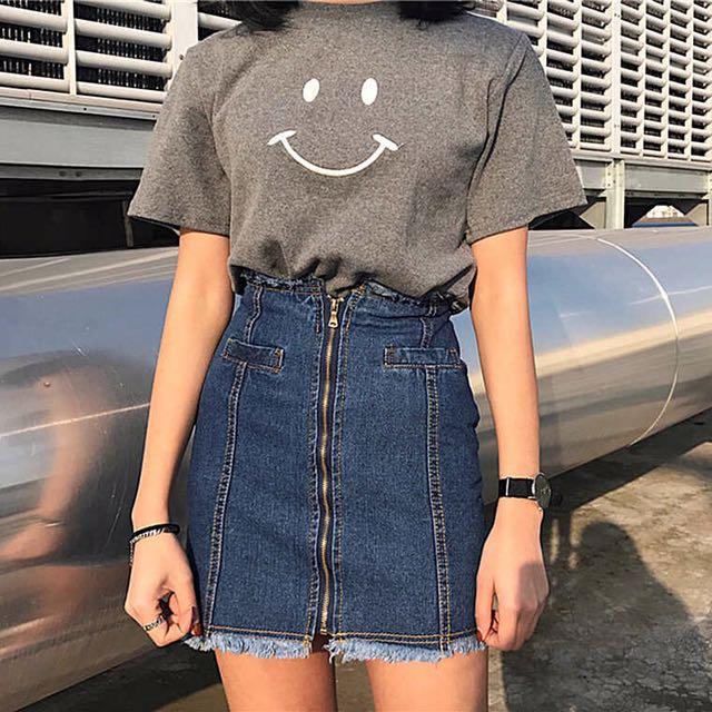 韓國拉鍊抽鬚不規則牛仔短裙高腰