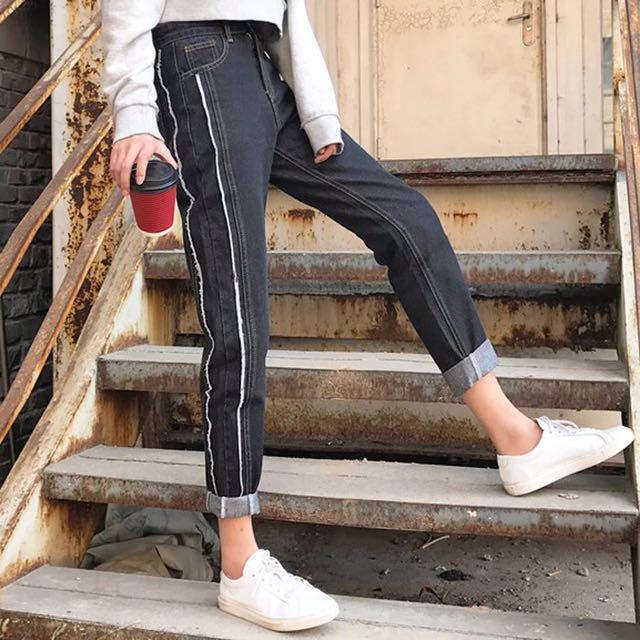 韓版黑色直筒褲