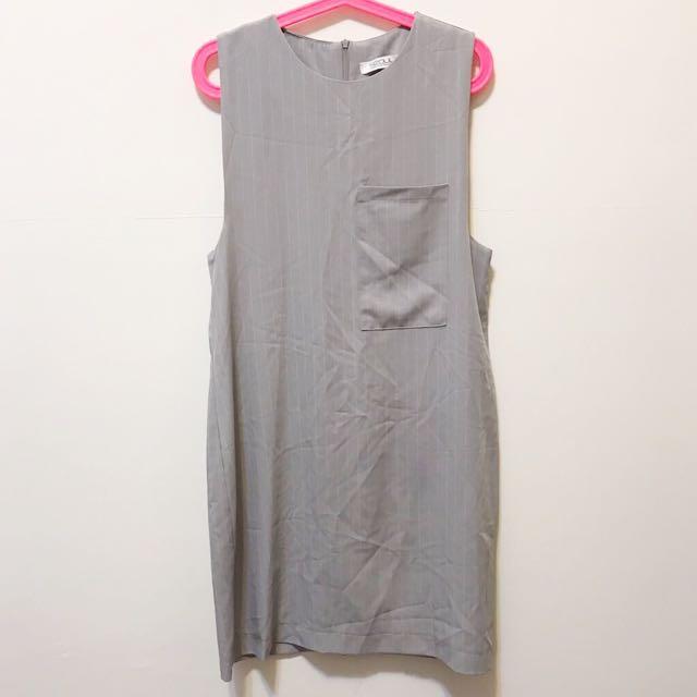 條紋無袖寬鬆洋裝