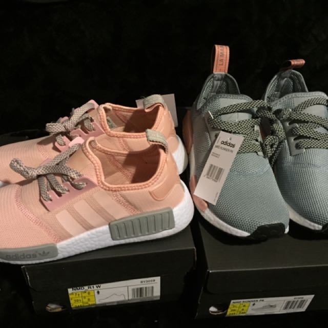 Adidas Originals NMD系列 潮流 慢跑 灰粉限定