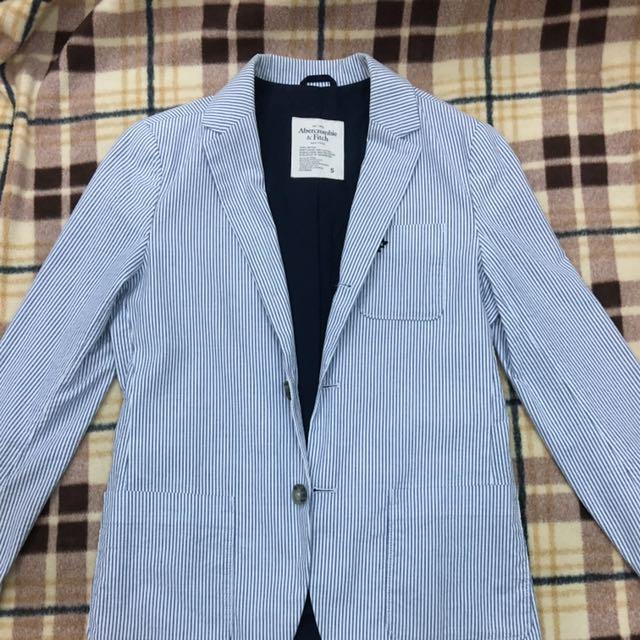 A&F 條紋棉質款西裝外套 S號