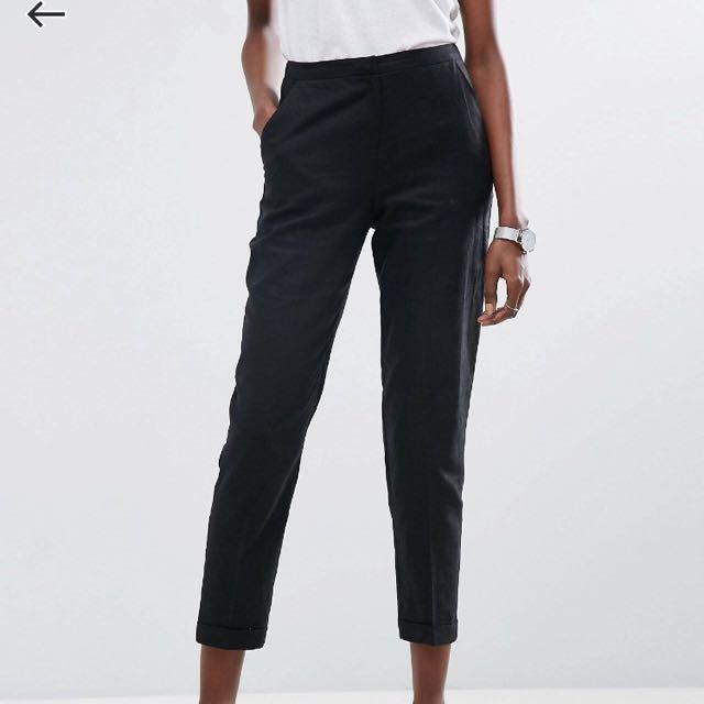 ASOS Black Linen Cigarette Pants