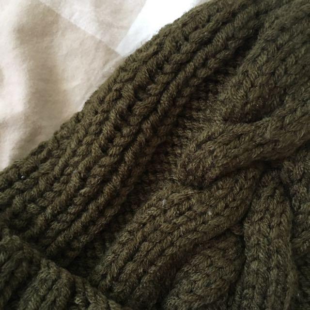 Basic Olive Green Knitted Beanie