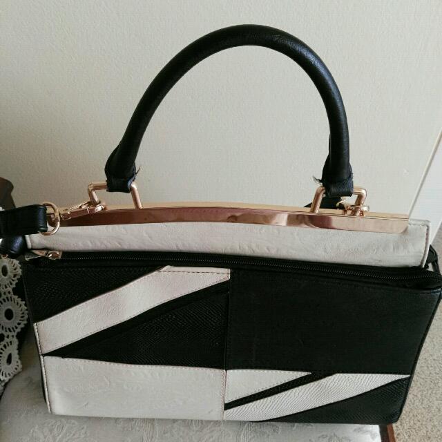 Beautiful Black & Creamy Colour Handbag Still In Good Condition Hardly Used