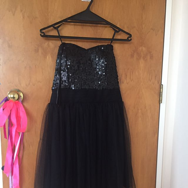Black Sequinned Bodice With Tulle Skirt Dress