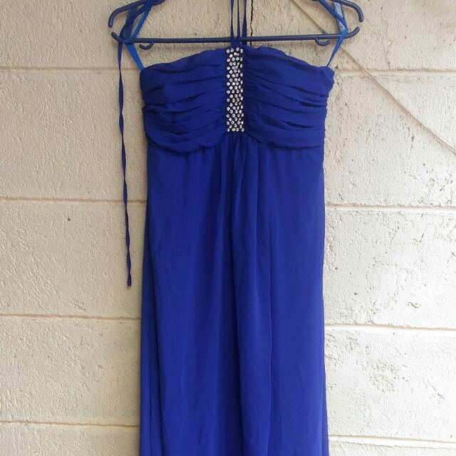 Blue Halter Long Gown