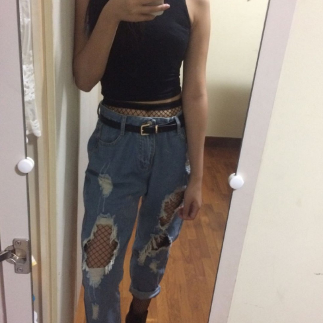 Denim Light Blue Ripped Boyfriend Jeans Diy Women S Fashion