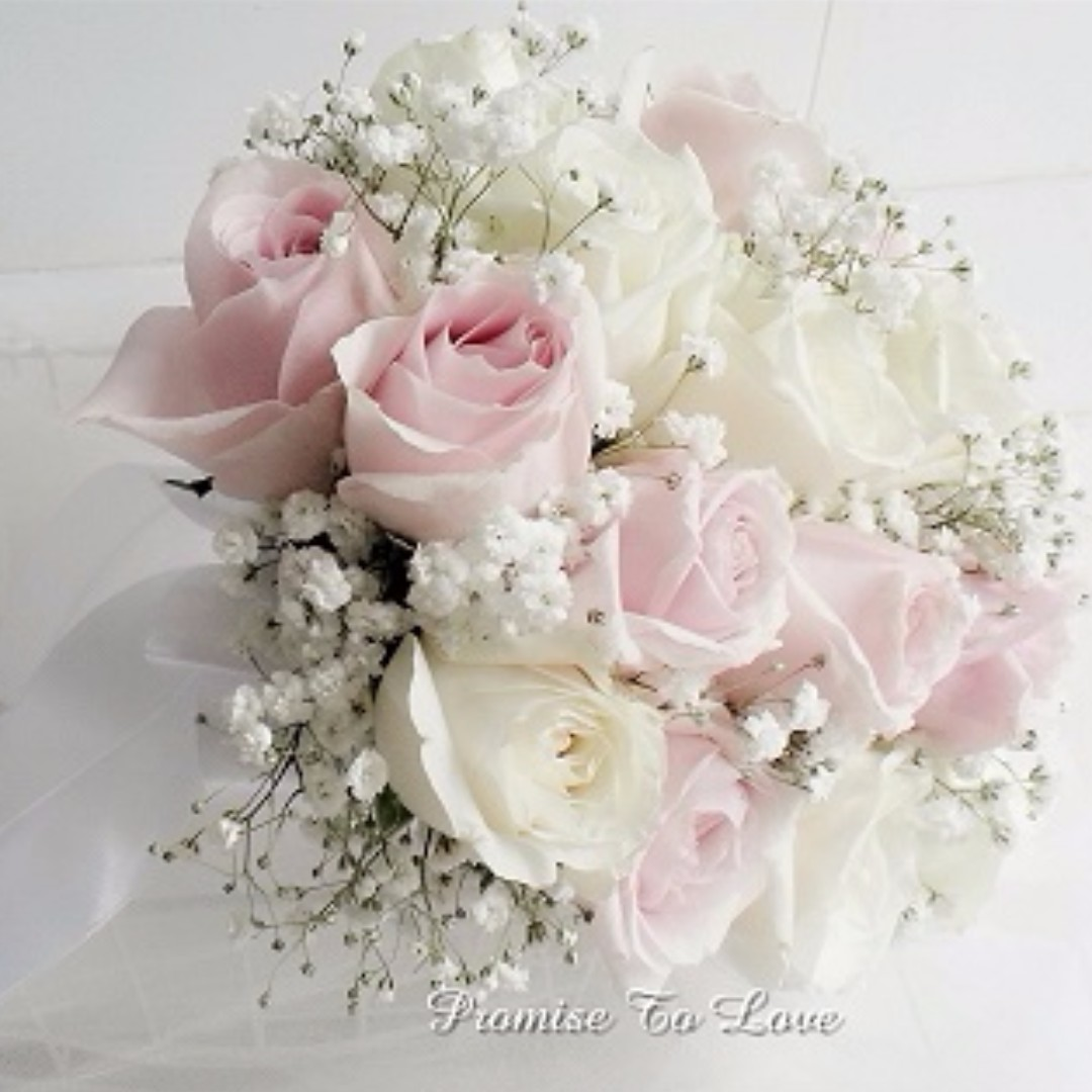 Fresh White Light Pink Roses Bridal Bouquet Wedding Rom Bridesmaid Proposal Anniversary Design Craft Handmade Craft On Carousell