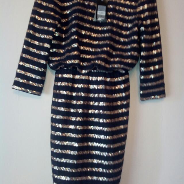 Helen's Woven Dress Black/bronze