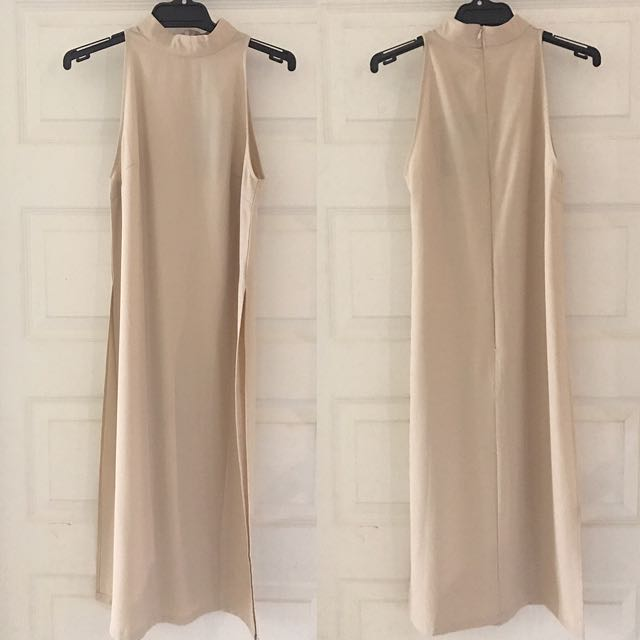 High Neck Side Split Shell Top Taupe