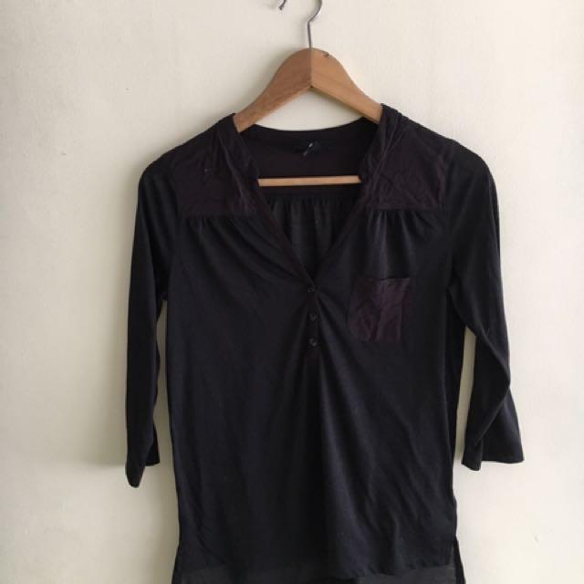 H&M Black V 3/4sleeves Polo