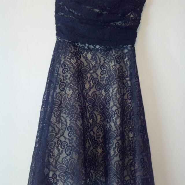 Lace Strapless Debutante Dress
