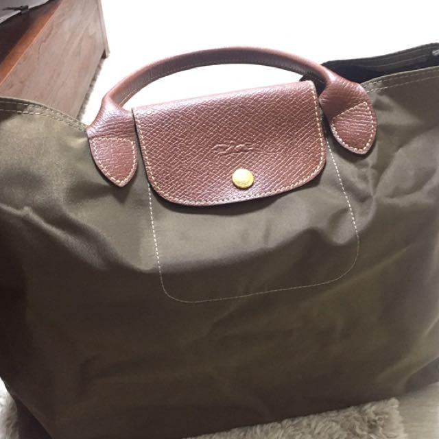 Longchamp短提把折疊方包(綠)