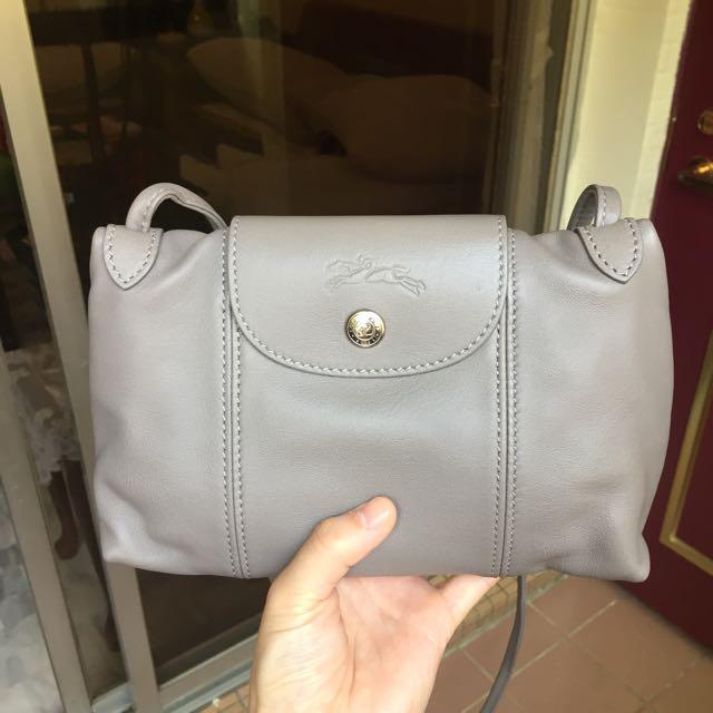 (降價)Longchamp Le Pliage Cuir 大象灰 小羊皮 全新 小包