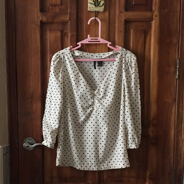 Mango Off White Heart Printed Top