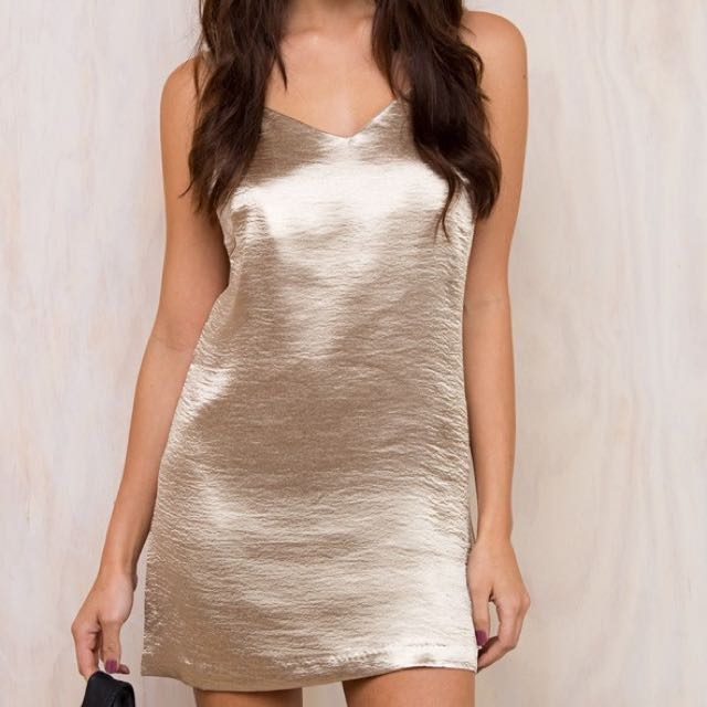 Minkpink Silky Gold Slip Dress