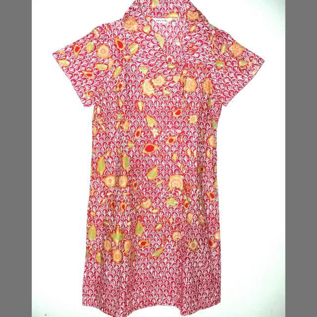 Mint Batik Red Dress