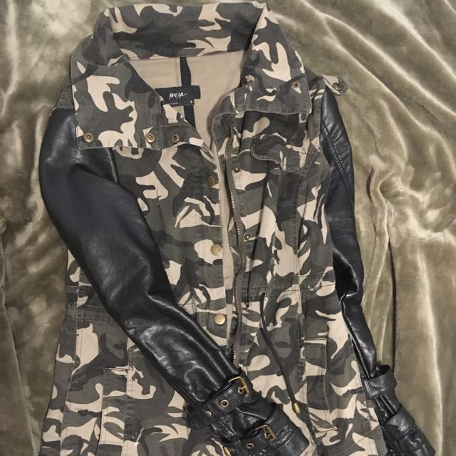 Nasty Gal Brand Camo Vegan Leather Jacket