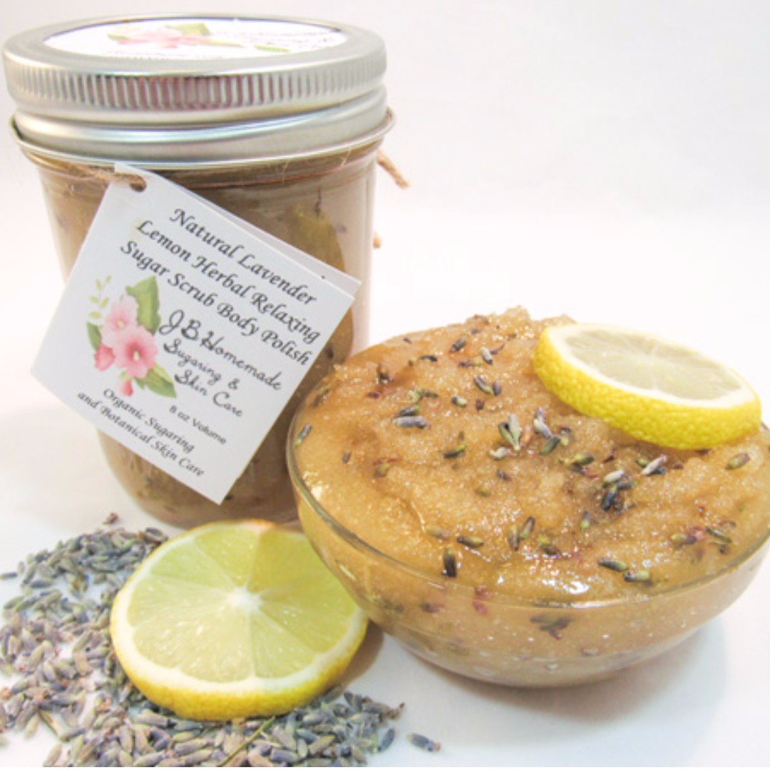 Natural Lavender Lemon Herbal Relaxing Sugar Scrub Body Polish - 8 Oz