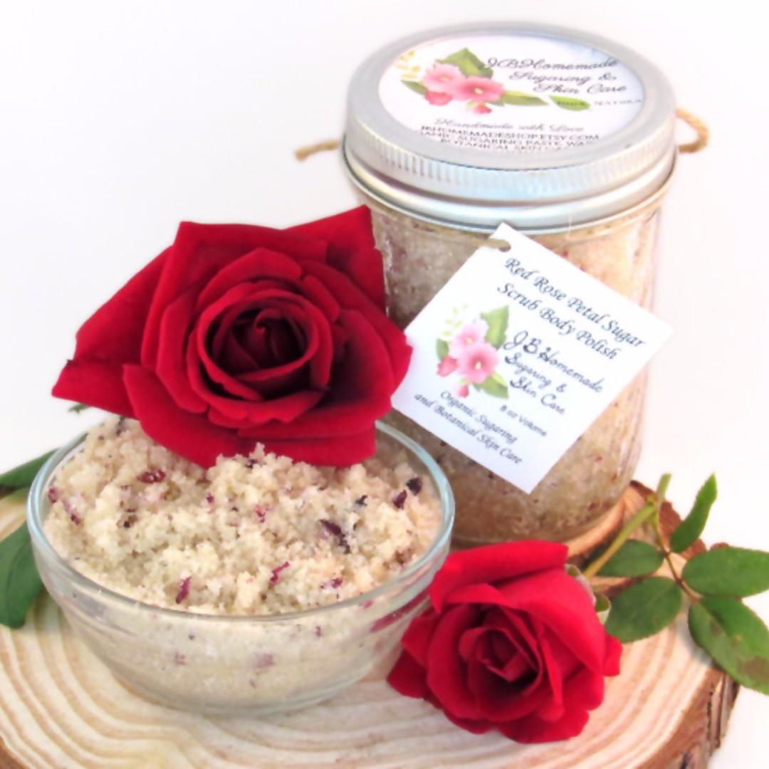 Natural Red Rose Petal Sugar Scrub Body Polish - 8 Oz