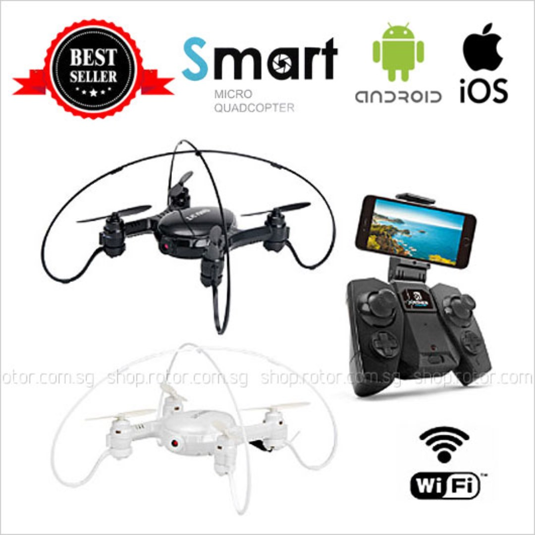 2 4G 4 CH SMART Drone Ready-to-Fly [ drone, 2 4G remote control, wifi 0 3MP  camera, 6 axis gyro, 3 7V LiPo battery, USB charger ] Choose from BLACK