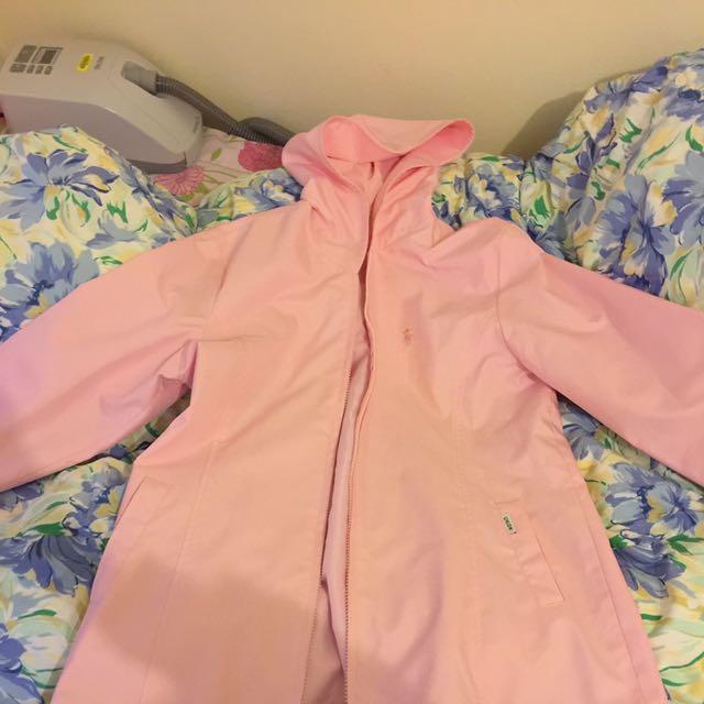 Pink Rain jacket With Hood