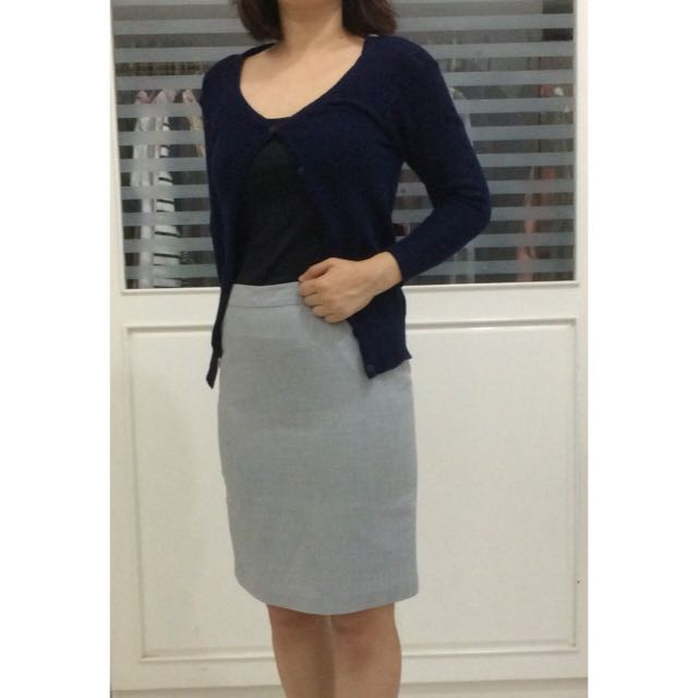 PRELOVED Accent's Grey Office Skirt