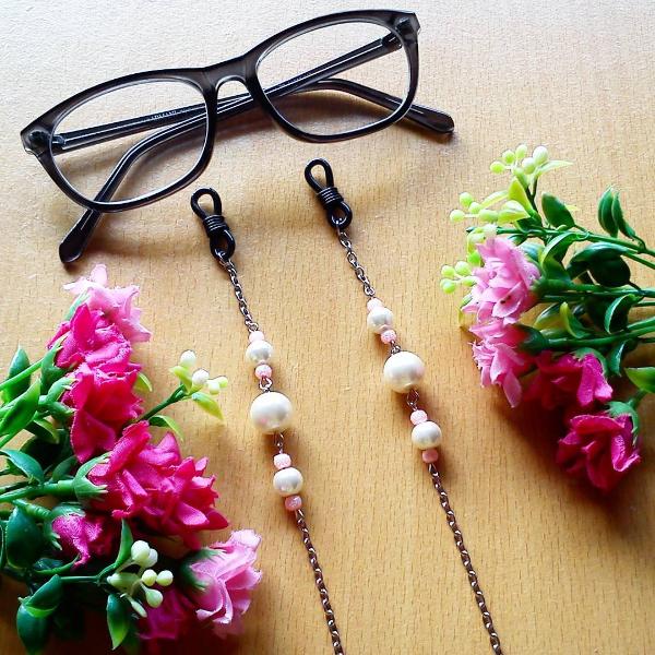 Rantai Kacamata Glasses Strap Silver Pearl