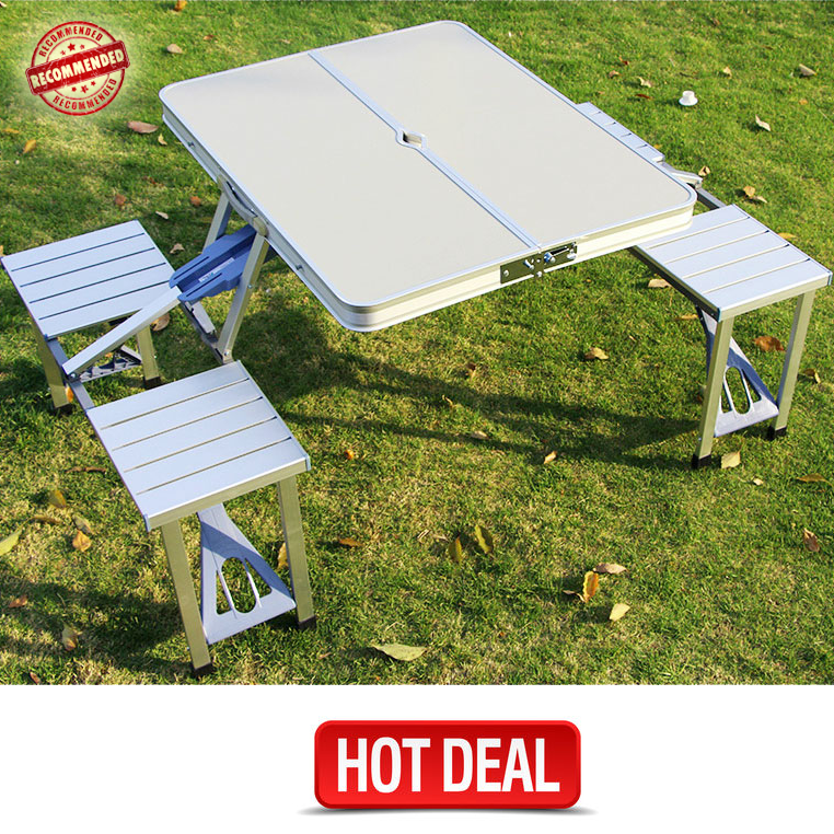 Groovy Brand New Portable Foldable Aluminium Folding Table W 4 Download Free Architecture Designs Scobabritishbridgeorg