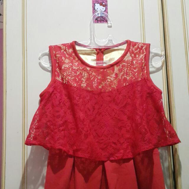 Red Peplum Lace Dress