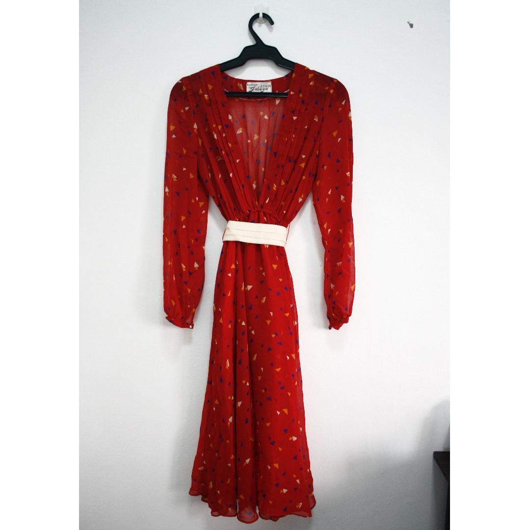 Red Vintage Chiffon Dress