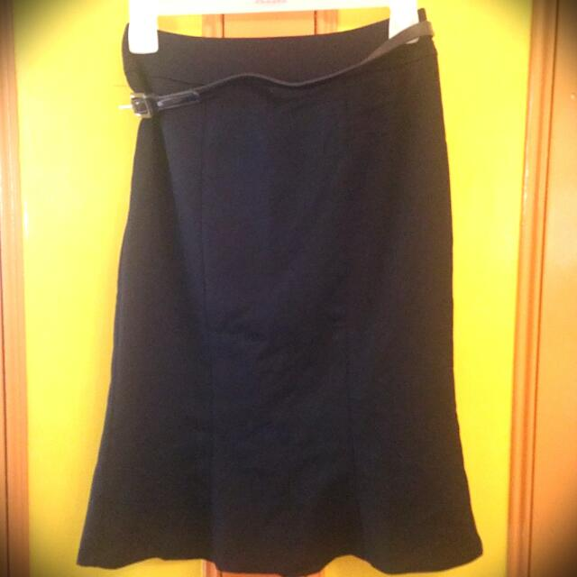REVIEW Navy Blue Pencil Skirt With Flare