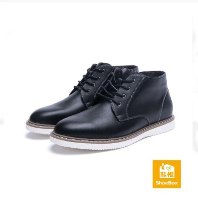 Shoebox 白底綁帶牛津短靴