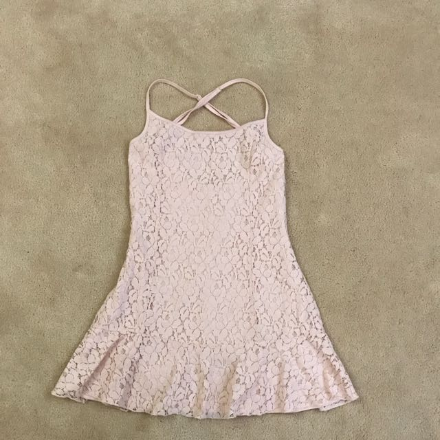 Size Small Baby Pink Lace Cross Strapdress Frill Hem Line Dance/ballerina Style