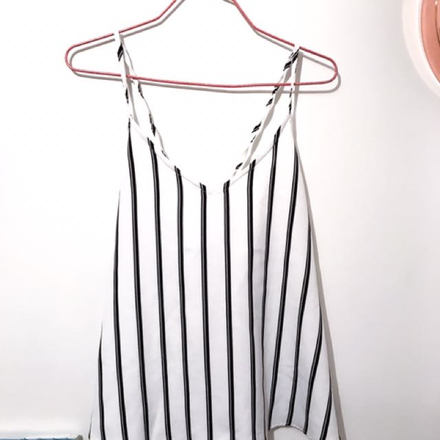 Striped Open Tied Back Top