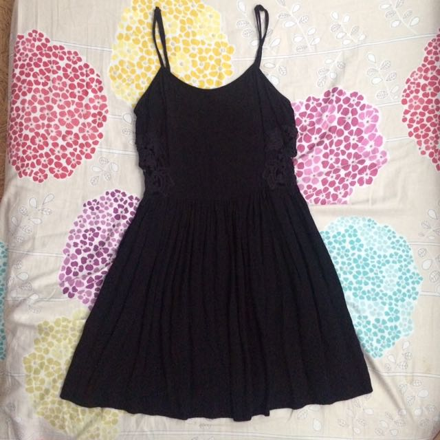 Topshop Black Dress With Side Lace